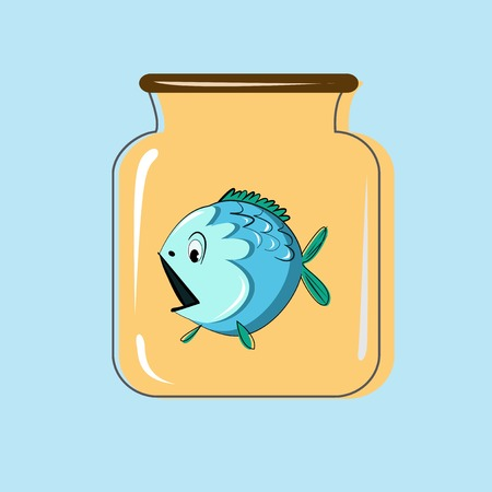 canning: Glass jar with canning fish