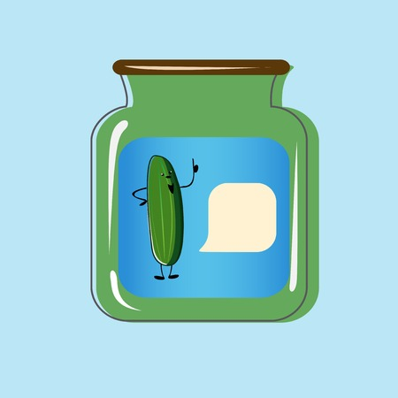 pickles: Bank with home canned pickles. Vector design