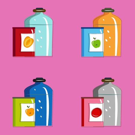 tinned: Set jars with tinned vegetables and fruits