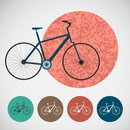 Vector set of bicycle on colored backgrounds  Vector