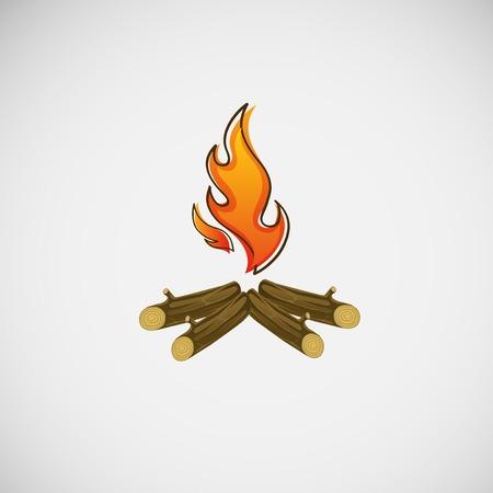 Feu, brûlant sur le bois.