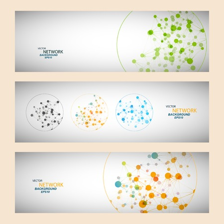 テクノロジー: ネットワーク接続と DNA 原子を色します。  イラスト・ベクター素材