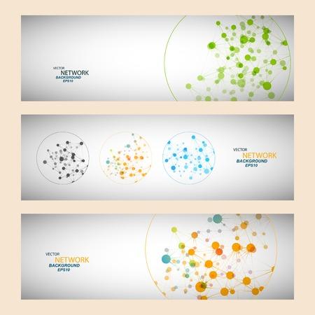 Kolor połączenie sieciowe i atom DNA Ilustracja