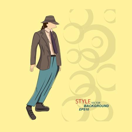Vector hombre boceto en ropa de eps