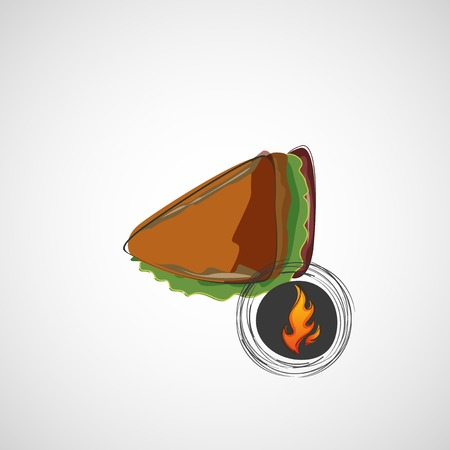 Tasty and juicy sandwich on a light. Vector design Vector