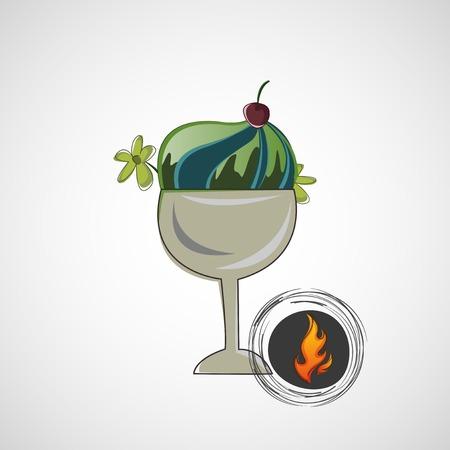 exceeding: Vector el bosquejo delicioso postre en un recipiente de vidrio Vectores