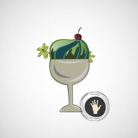 vanilla pudding: Vector el bosquejo delicioso postre en un recipiente de vidrio Vectores
