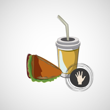 cold room: Vector icon of fast food sandwich and a drink