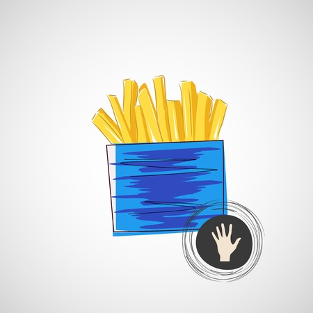 Vector sketch of cardboard with french fries Vector