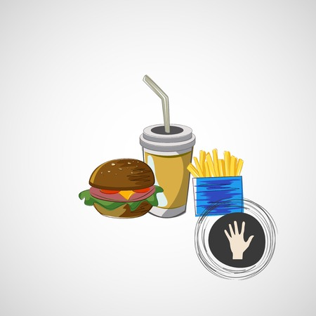burger with fries: Vector set of fast food drink, burger, fries