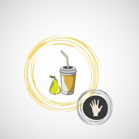 Vector sketch paper cup with straw and pear Vector