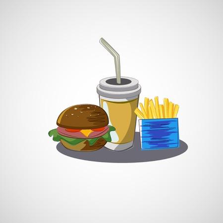 essen und trinken: Vektor-Satz von Fast-Food-Getr�nk, Burger, Pommes