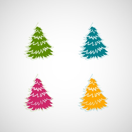 Set of vector trees on a light background Vector