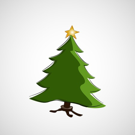 Beautiful Christmas tree on a light background Vector