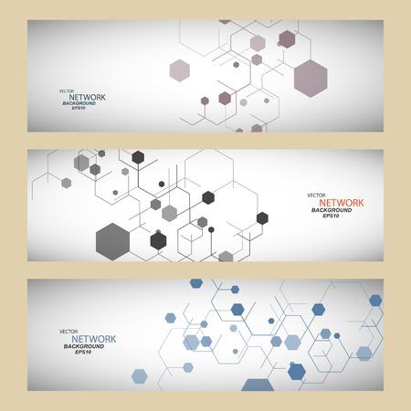 Vector kleur netwerkverbinding en DNA-atoom. Stock Illustratie