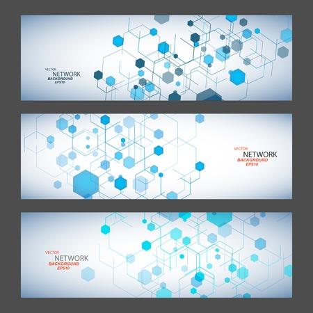 organic chemistry: Vector color de conexión de red y un átomo de ADN. Vectores