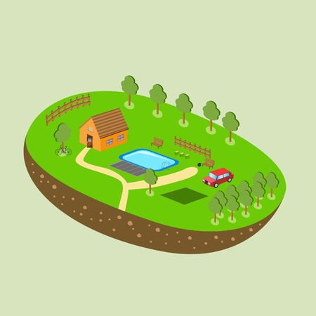 green little planet earth: Vector piece of land and sky with objects. Illustration