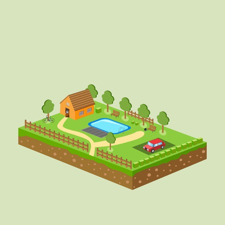 Vector piece of land and sky with objects. Illustration