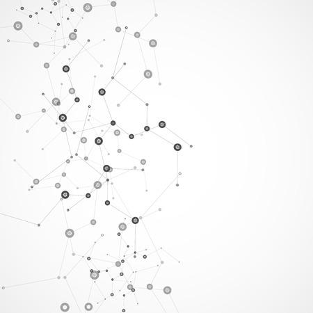 Vector kleur netwerkverbinding en DNA-atoom