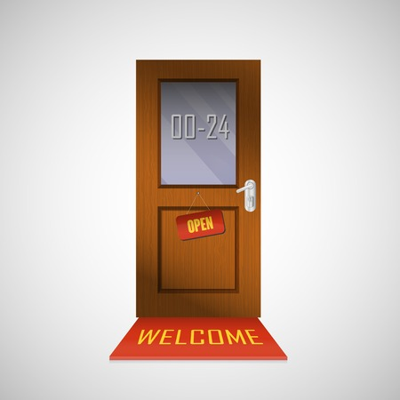 around the clock: Front door is open around clock with a sign Illustration