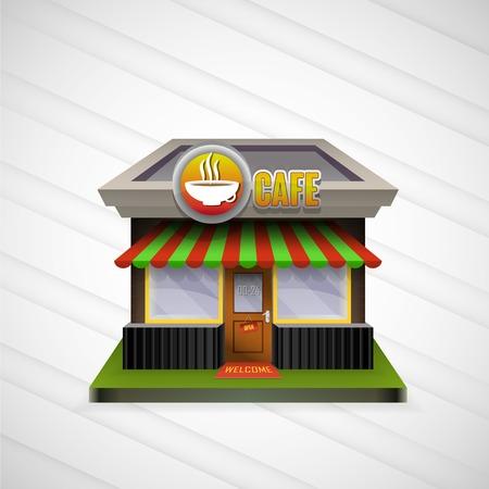 escaparates de tiendas: Cafeter�a Edificio escaparates abiertos y toldo brillante