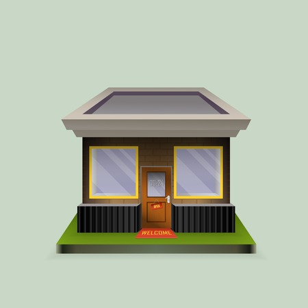 storefronts: Building cafe open storefronts and bright awning Illustration