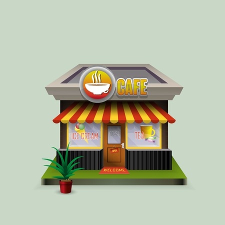 Building cafe open storefronts and bright awning Illustration