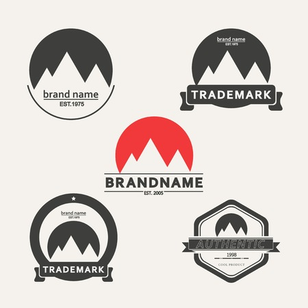 tour guide: Vector set of emblems associated with mountains