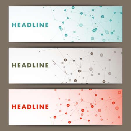 Drie vector banner met een moleculaire structuur. Stock Illustratie