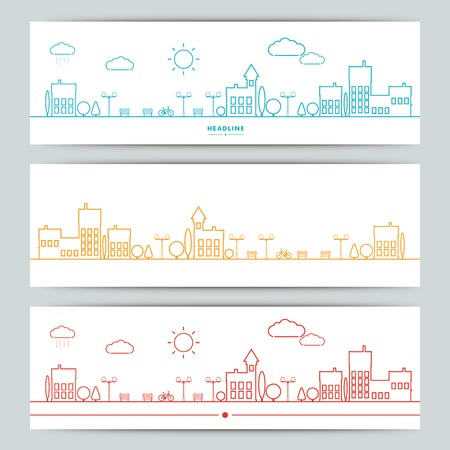 house energy: Set of banners with contour urban landscape