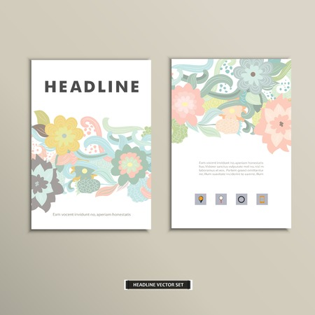 Book cover with flowers. Vector vintage design Illustration