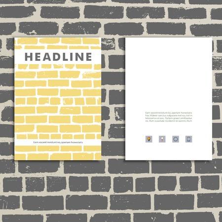 brickwork: Cover vector book with background color brickwork Illustration