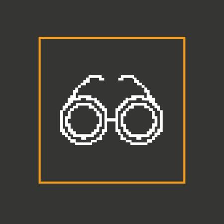 corrective lenses: Simple stylish glasses pixel icon. Vector design.