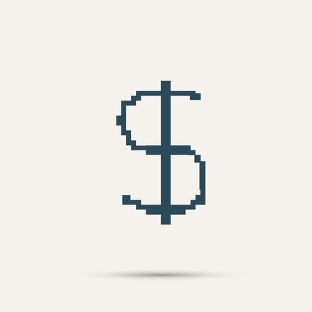 us currency: Simple style pixel icon dollar sign. Vector design.