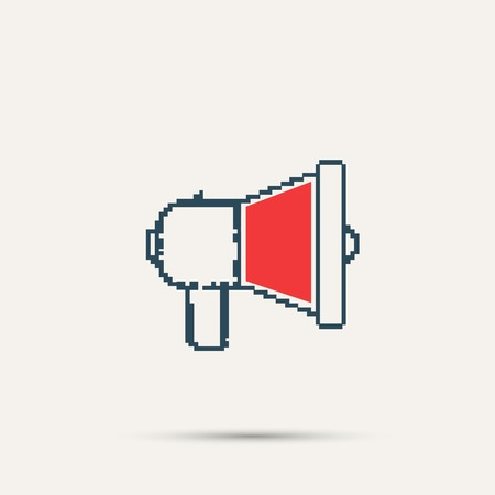 urgently: Simple stylish pixel speaker icon. Vector design.