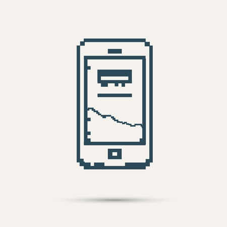 Simple stylish pixel icon phone. Vector design. Vector