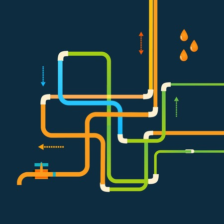Vector color abstract design tangled pipes eps