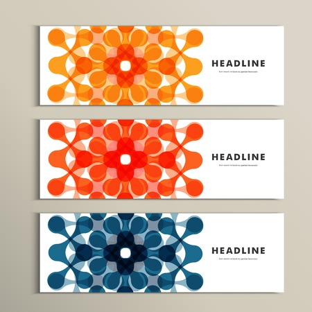 Three vector pattern abstract in banner design  イラスト・ベクター素材