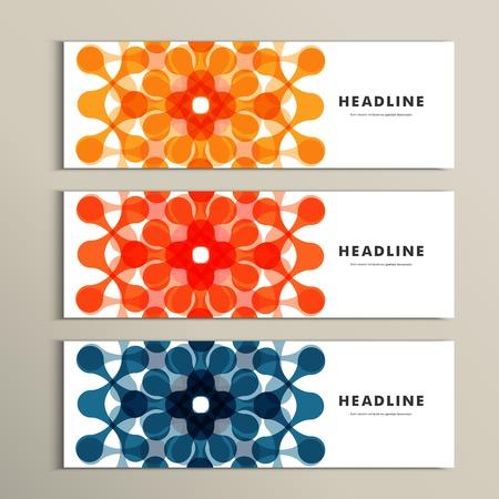 Drie vector patroon abstract in banner ontwerp