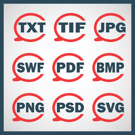 svg: Set of icons indicating the digital formats Illustration