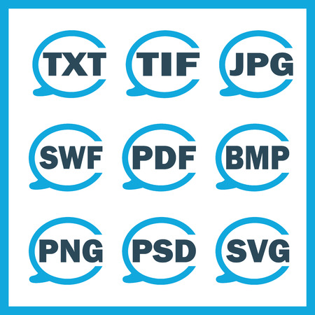 formats: Set of icons indicating the digital formats Illustration