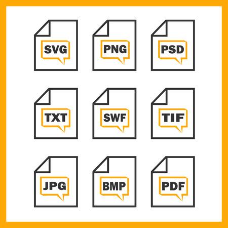 formats: Set of icons indicating the digital formats Illustration