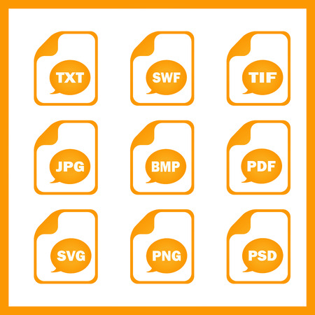 Set of icons indicating the digital formats Illustration