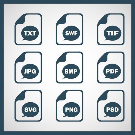 Set of icons indicating the digital formats Illustration