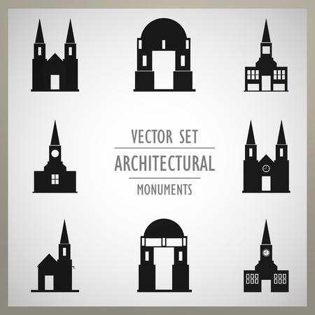 monuments: Set of vector architectural monuments old Europe Illustration