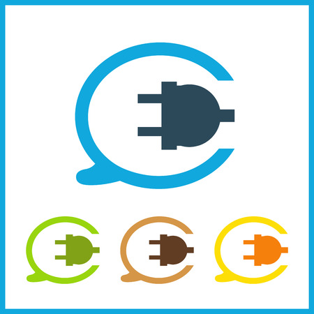 Wire, socket and electric plug vector design Illustration