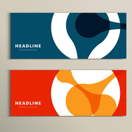 Twee banner vector patroon met abstracte figuren