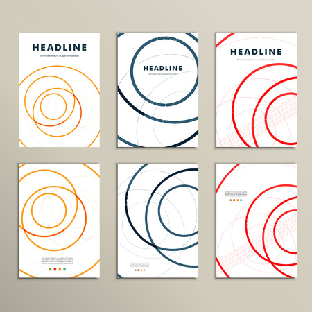 endlessly: Six vector pattern with abstract circle brochures