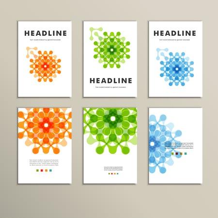 抽象的な数字パンフレットと六つのベクトル パターン