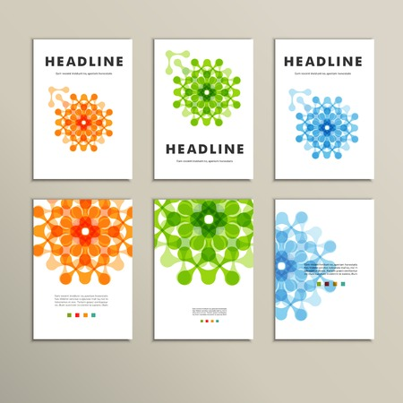 network: Six vector pattern with abstract figures brochures